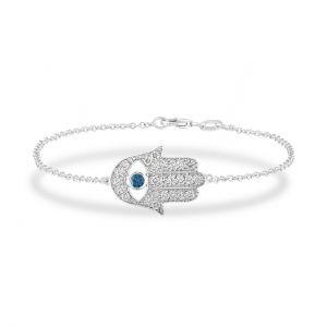 Браслет Хамса с бриллиантами и сапфиром