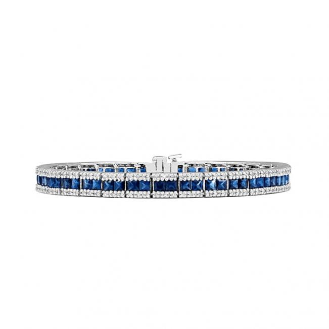 Теннисный браслет с сапфирами и бриллиантами