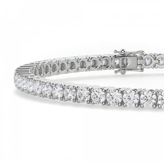 Теннисный браслет с бриллиантами 3,72 карата,  Больше Изображение 2