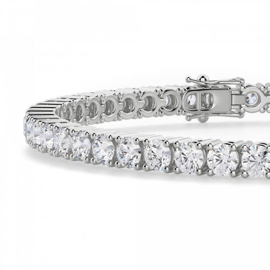 Теннисный браслет с бриллиантами 5,72 карата,  Больше Изображение 2