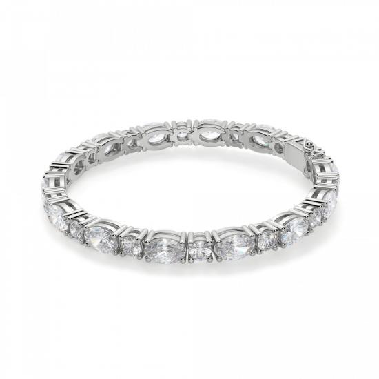 Теннисный браслет с овальными и круглыми бриллиантами, Больше Изображение 1