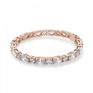 Теннисный браслет из розового золота с овальными бриллиантами