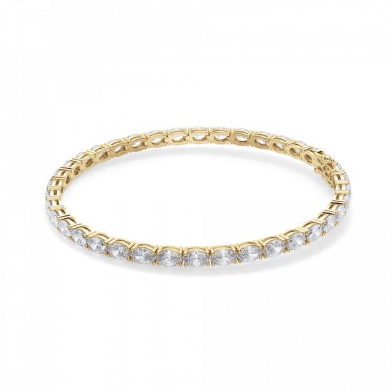 Теннисный браслет золотой с овальными бриллиантами, Больше Изображение 1
