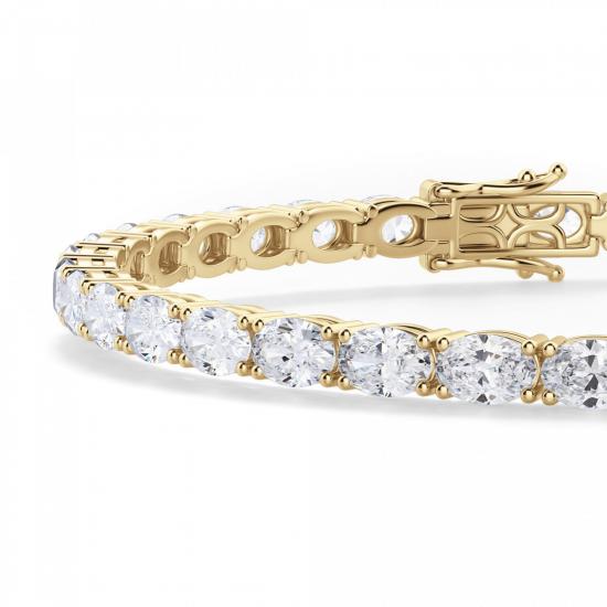 Теннисный браслет золотой с овальными бриллиантами,  Больше Изображение 2
