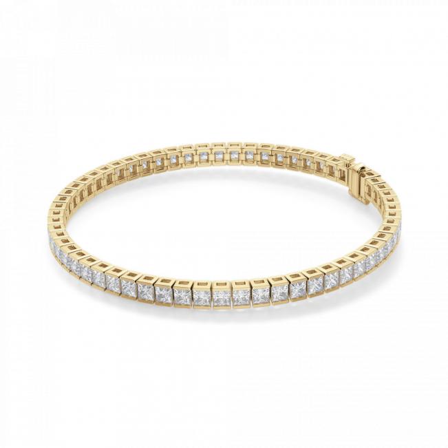 Теннисный браслет золотой с квадратными бриллиантами