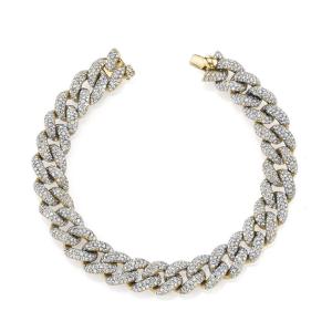 Браслет золотая цепь 10 мм с бриллиантами