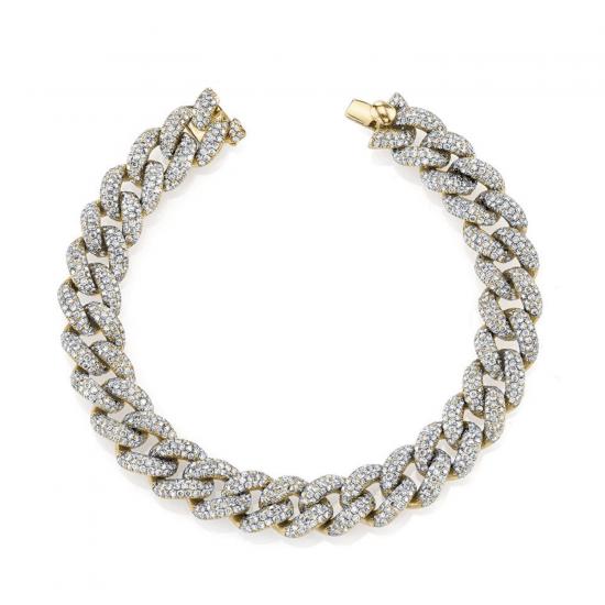 Браслет золотая цепь 10 мм с бриллиантами, Больше Изображение 1