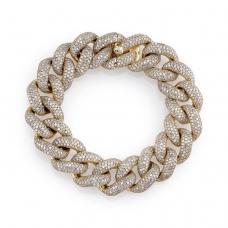 Браслет цепь из золота шириной 15 мм с бриллиантами