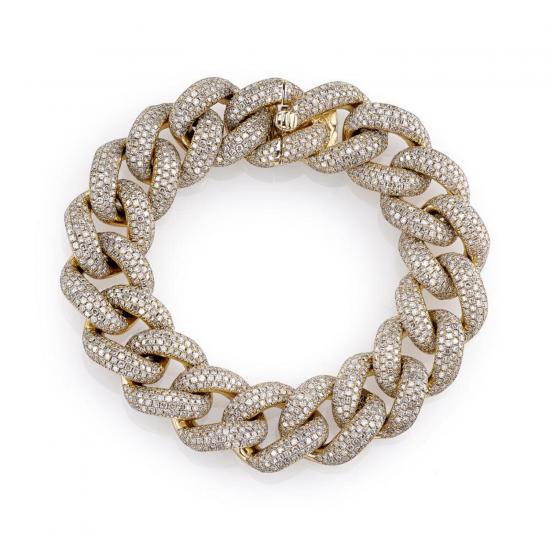Браслет цепь из золота шириной 15 мм с бриллиантами, Больше Изображение 1
