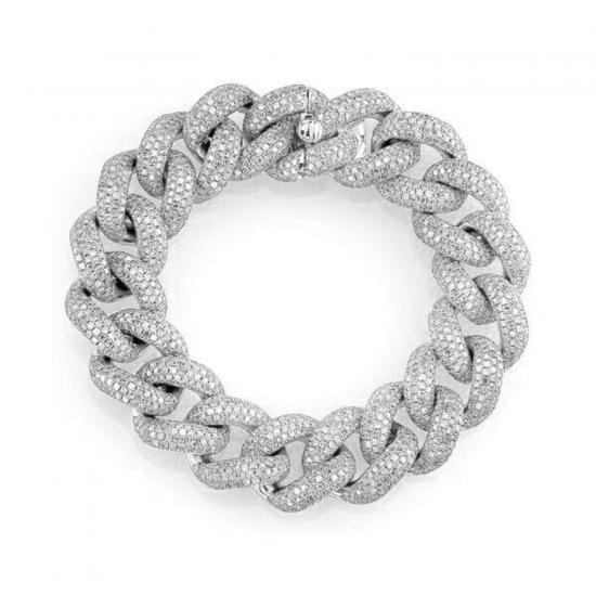 Браслет золотая цепь 15 мм с бриллиантами, Больше Изображение 1