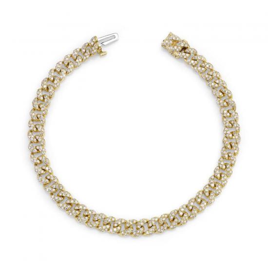 Браслет цепь золотая 5 мм с бриллиантами, Больше Изображение 1