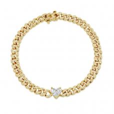 Браслет из золота цепь с бриллиантом сердце