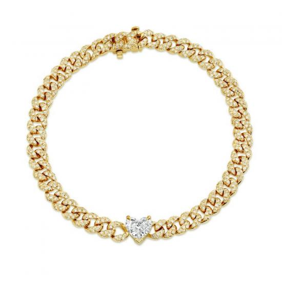 Браслет из золота цепь с бриллиантом сердце, Больше Изображение 1