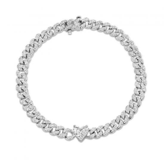 Браслет цепь с бриллиантами и крупным сердцем, Больше Изображение 1
