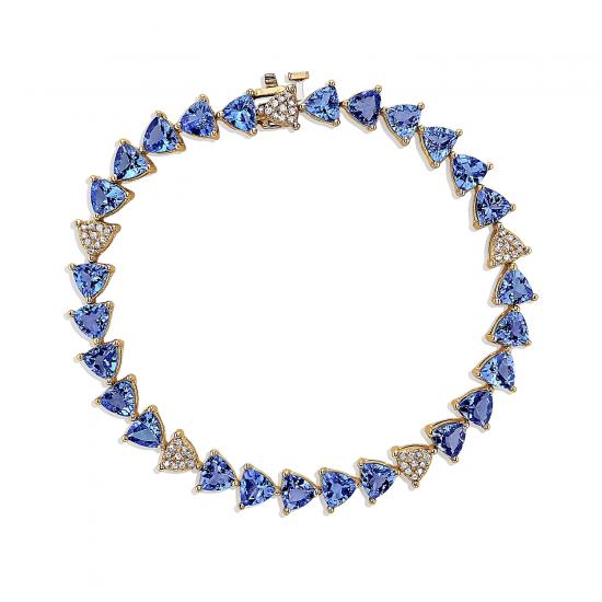 Браслет с треугольными танзанитами и бриллиантами, Больше Изображение 1