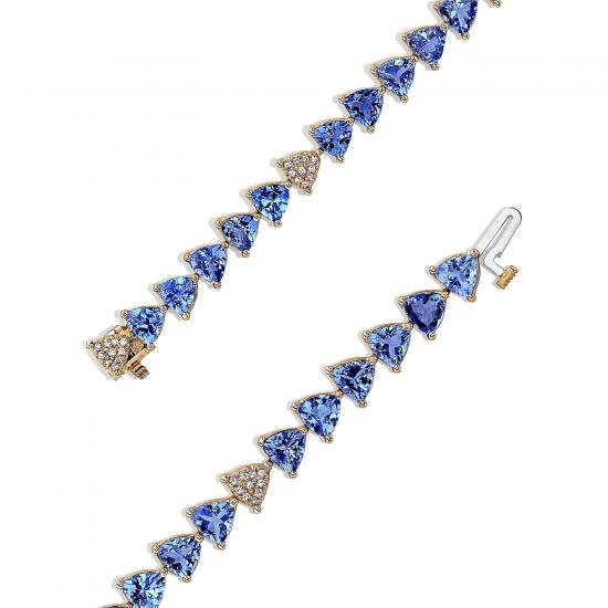 Браслет с треугольными танзанитами и бриллиантами,  Больше Изображение 2