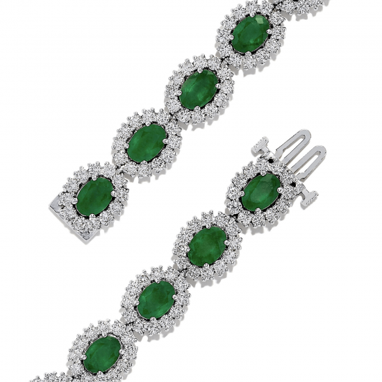 Браслет с изумрудами и бриллиантами,  Больше Изображение 2
