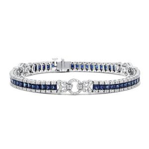 Браслет с сапфирами и бриллиантами в стиле ар-деко