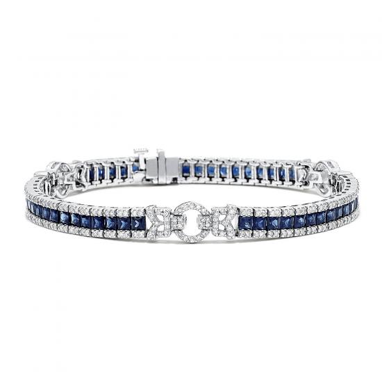 Браслет с сапфирами и бриллиантами в стиле ар-деко, Больше Изображение 1