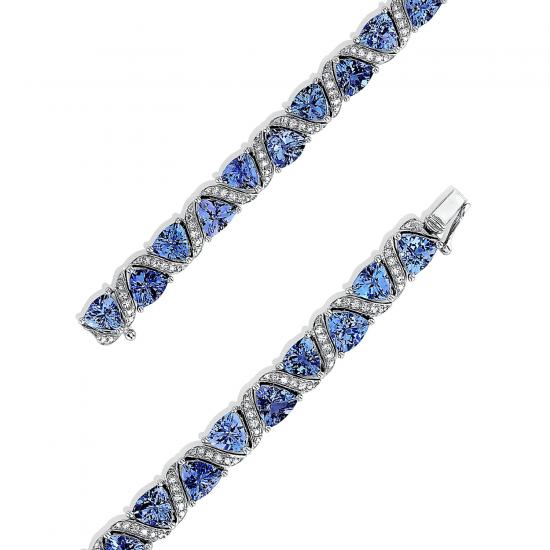 Браслет с танзанитами и бриллиантами по кругу,  Больше Изображение 2