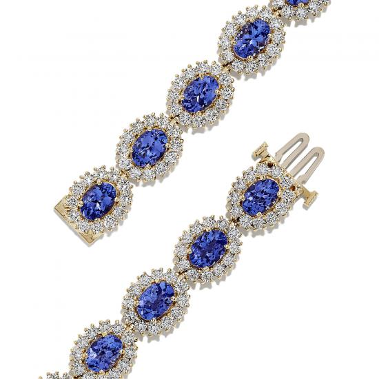 Браслет с овальными танзанитами и бриллиантами,  Больше Изображение 2
