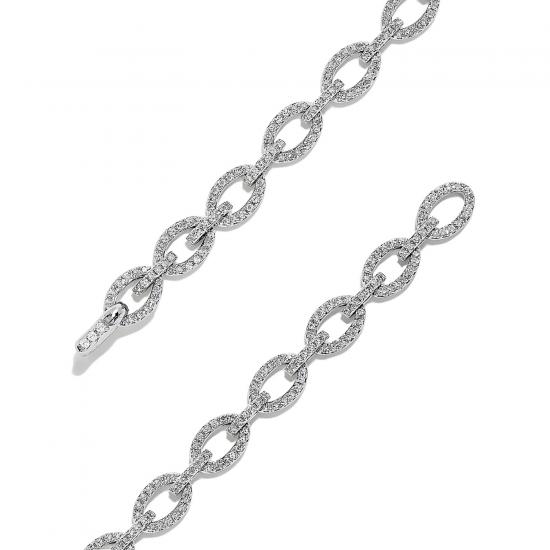 Браслет Цепь с овальными звеньями в бриллиантах,  Больше Изображение 2