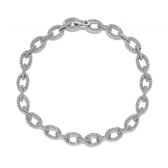 Браслет Цепь с овальными звеньями в бриллиантах, Больше Изображение 1