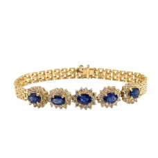 Золотой браслет с овальными сапфирами и бриллиантами