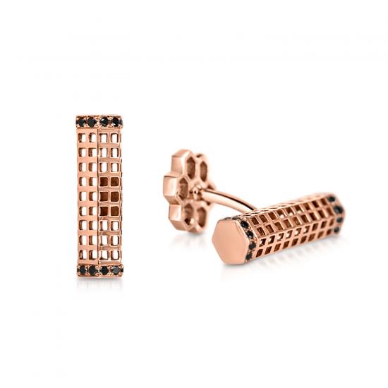 Мужские запонки с черными бриллиантами, Больше Изображение 1