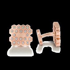 Золотые запонки Медовые соты с бриллиантами | 3684