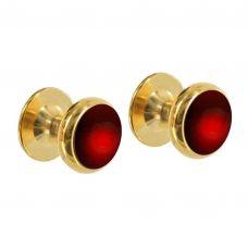 Запонки из золота с круглыми гранатами