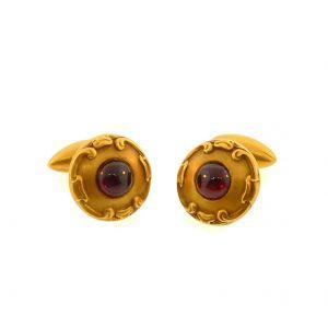 Золотые круглые запонки с гранатами