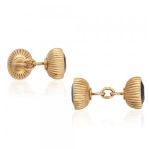 Золотые запонки с гранатами в винтажном стиле