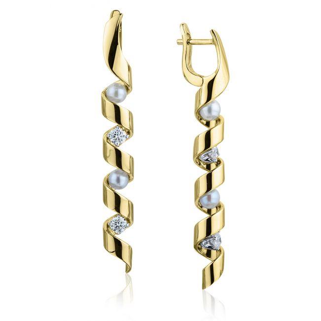 Длинные серьги с бриллиантами и жемчугом