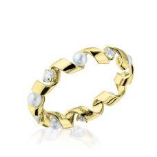 Кольцо Ruban с бриллиантами и жемчугом